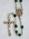 Emerald Green Glass Bead Rosary with Pewter Center and Crucifix