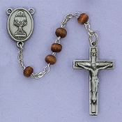 Brown Wood Communion Rosary with Pewter Chalice and Crucifix