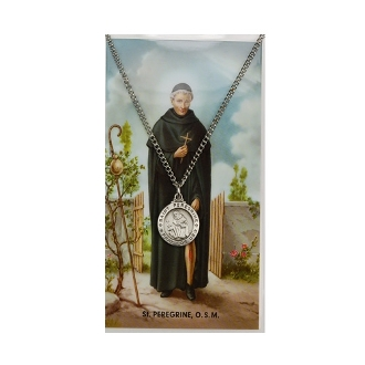 Saint Peregrine Medal and Prayer Card Set, 18 inch chain