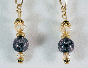 Black Crackle and Swarovski Golden Shadow Dangle Earrings