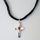 Sterling Silver Cross and Crystal on Satin Cord Necklace