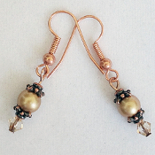 """Lucy,"" Copperplate and Swarovski Imitation Pearl Drop Earrings"