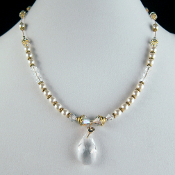 """Bobbe"" Swarovski Crystal Pendant and Faux Pearl Necklace"