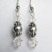 """Anna"" Swarovski Grey Faux Pearl and Crystal Earrings"