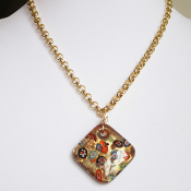 """Riner"" Gold Colored Glass Pendant on 20"" Chain"