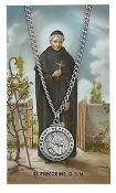 Saint Peregrine Medal and Prayer Card Set, 24 inch chain