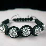 "Shamballa ""Night Lights"" Silver Tone and Black Bracelet"