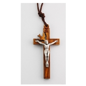 "Cut-Out Holy Spirit 2"" Crucifix with 26"" Brown Cord"