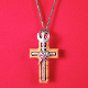 Olive Wood Holy Spirit Cross Pendant on 28 Inch Brown Cord