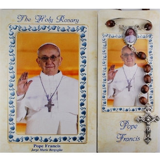 Pope Francis Wood Rosary with Booklet