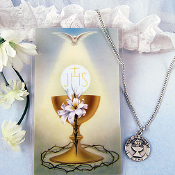 First Communion Necklace and Prayer Card