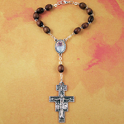 Pope Francis and San Damiano Wood Auto Rosary