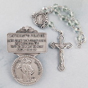 Guardian Angel Crystal Auto Rosary and Visor Clip Set