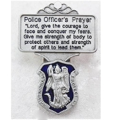 Enameled Police Officer's Prayer and St. Michael's Visor Clip