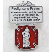 Red Enameled Pewter St. Florian Firefighter's Prayer Visor Clip