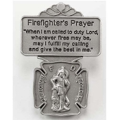 Pewter St. Florian Firefighter's Prayer Visor Clip