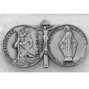 Pewter St. Christopher, Miraculous Medal and Crucifix Visor Clip