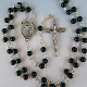 Black Glass Communion Rosary with Pewter Chalice and Crucifix