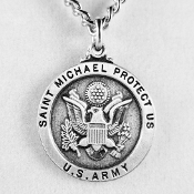 "U.S. Army Pewter St. Michael Medal on 24"" Neck Chain"