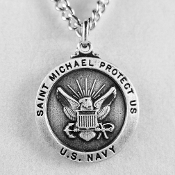 "U.S. Navy Pewter Patron Saint Medal and 24"" Neck Chain"