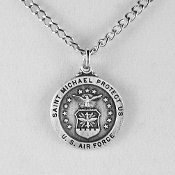 "U.S. Air Force St. Michael Patron Saint Medal on 24"" Neck Chain"