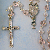 First Communion Pink and White Crystal Rosary