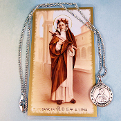 "St. Rose of Lima Pewter Medal with 18"" Chain and Prayer Card Set"