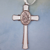 White Enamel Guardian Angel Child's Small Cross