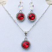 Red Swarovski Crystal Sterling Silver Necklace and Earrings Set