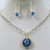 Star of David and Sapphire Crystal Necklace and Earrings Set