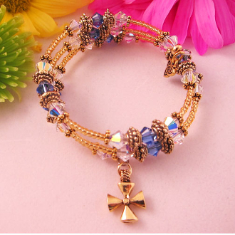 Christian Sapphire Crystal and Gold Bead Wrap Bracelet