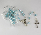 Small Blue Faux Pearl Rosary in Cross Box