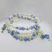 Sapphire and Silver Gray Multi Strand Wrap Bracelet