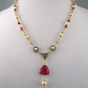 Regal Ruby and Pearl Colored Bead Necklace