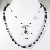 Amethyst and Swarovski Crystal Loop Necklace