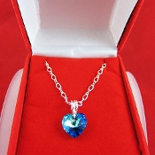 Bermuda Blue Swarovski Dainty Heart Sterling Silver Necklace