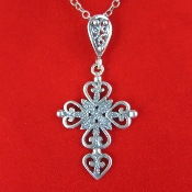 Antiqued Sterling Silver Heart Cross 18 Inch Necklace