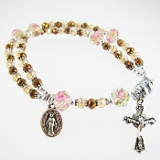 Champagne Crystal Rosary Bracelet with Magnetic Clasp