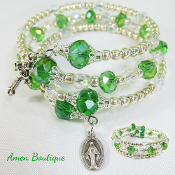 Green and Silver Glass Bead Rosary Wrap Bracelet