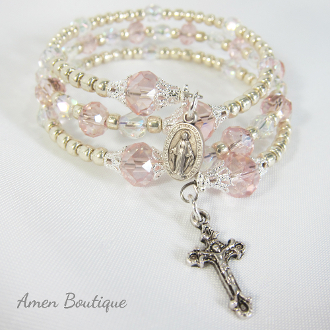 Pink and Silver Glass Bead Rosary Bracelet
