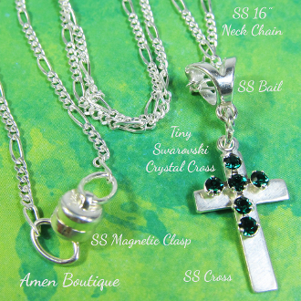 Sterling Silver Tiny Cross on 16 Inch Silver Chain