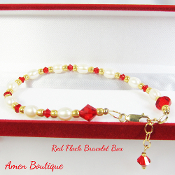 Pearls and Swarovski Red Crystals Bracelet