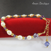 Freshwater Pearls and Swarovski Blue Crystals Bracelet
