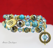 Blue Crazy Lace Agate and Lotus Charm Wrap Bracelet