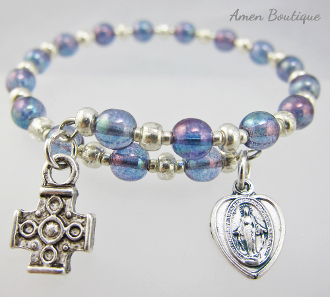 Blue Czech Bead Bracelet with Miraculous Medal and Coptic Cross