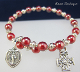Red Czech Bead Bracelet with Miraculous Medal and Coptic Cross