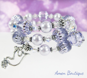 Silver Peace Dove Bracelet in Lilac Czech and Swarovski Beads