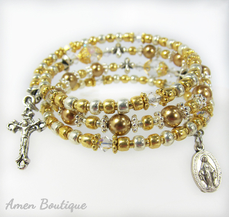 Silver and Gold Color Swarovski and Toho Rosary Wrap Bracelet