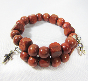 Awareness Ribbon Wrap Bracelet with Reddish Brown Wood Beads
