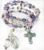 Our Lady of Guadalupe Wrap Bracelet With Czech Lavender Beads